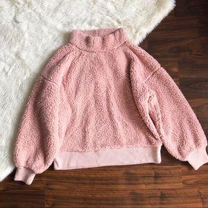 GAP Sherpa Pink Mock Neck Pullover